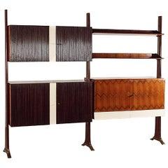 Italian Midcentury Mahogany Bookcase Self-Standing Paolo Buffa Style, 1950s