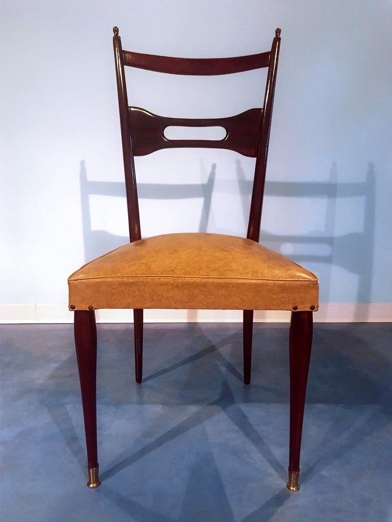 Italian Mid-Century Dining Chairs Paolo Buffa Style, Set of Six, 1950s For Sale 4