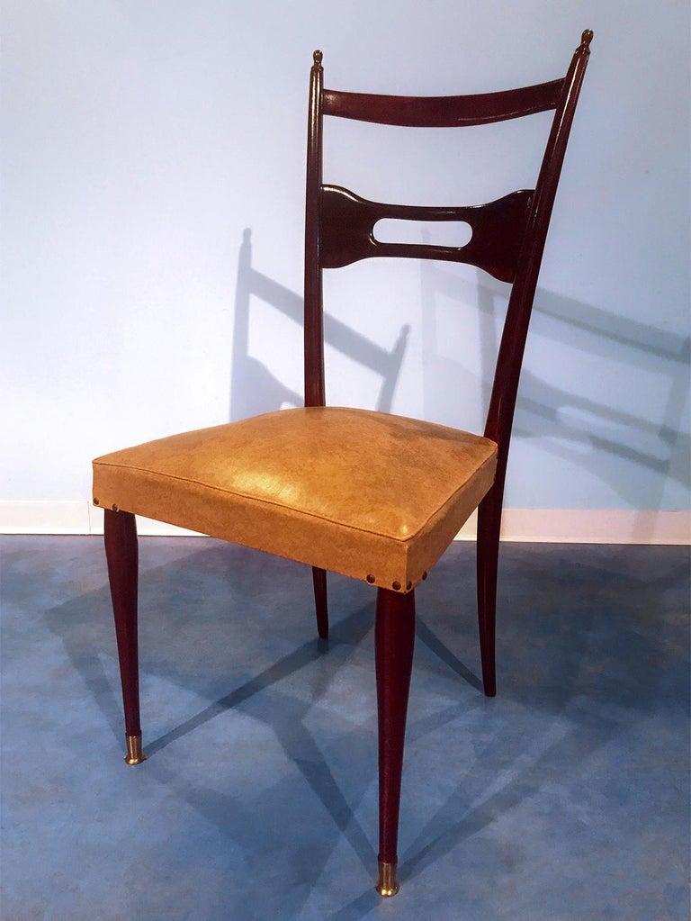 Italian Mid-Century Dining Chairs Paolo Buffa Style, Set of Six, 1950s For Sale 5