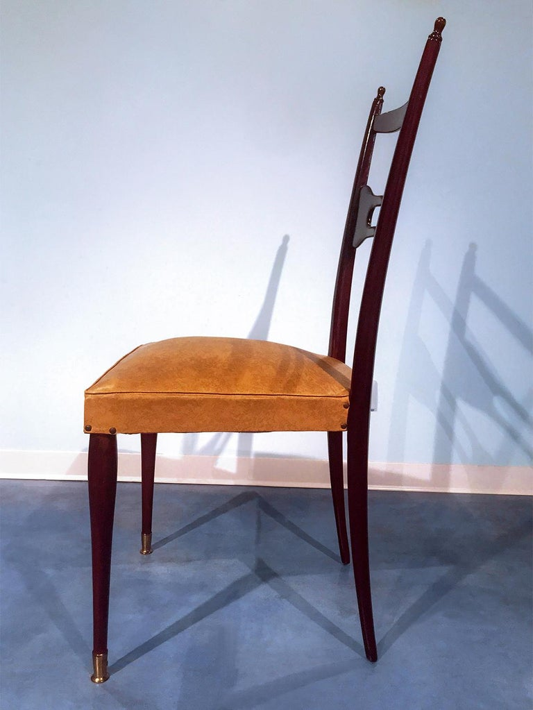 Italian Mid-Century Dining Chairs Paolo Buffa Style, Set of Six, 1950s For Sale 6