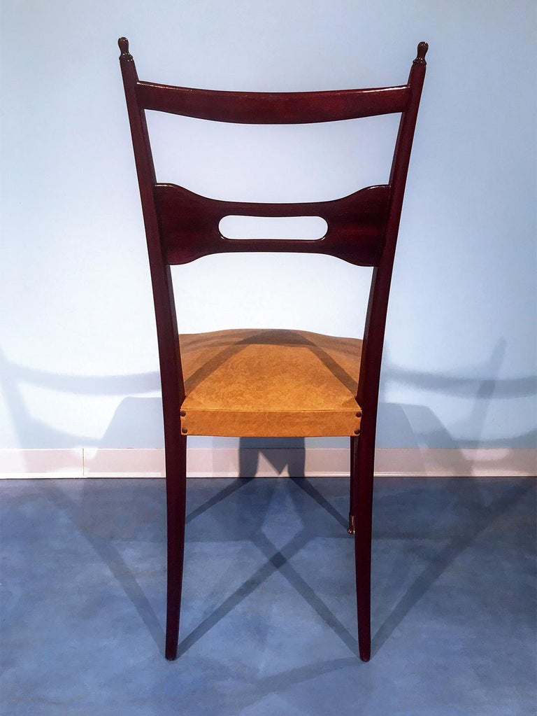 Italian Mid-Century Dining Chairs Paolo Buffa Style, Set of Six, 1950s For Sale 8
