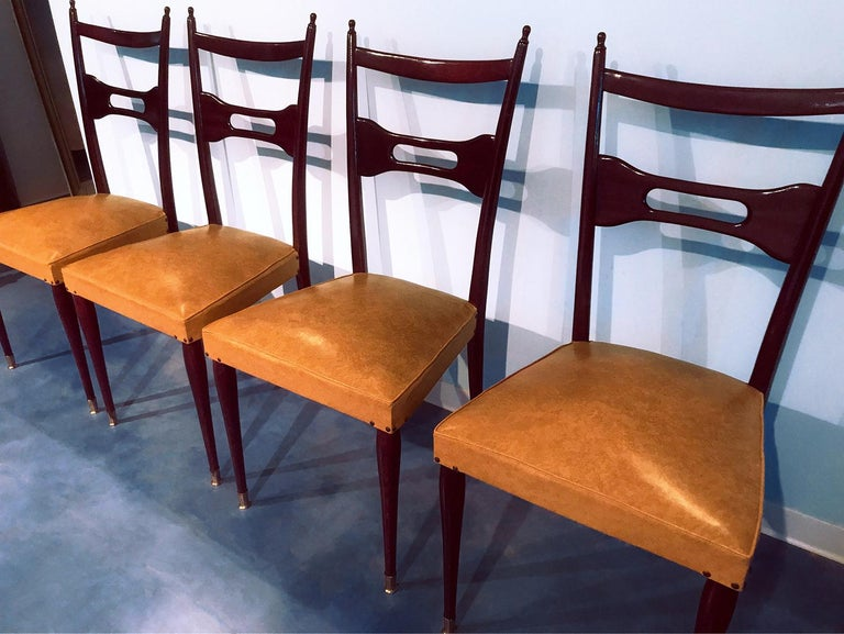 Mid-Century Modern Italian Mid-Century Dining Chairs Paolo Buffa Style, Set of Six, 1950s For Sale
