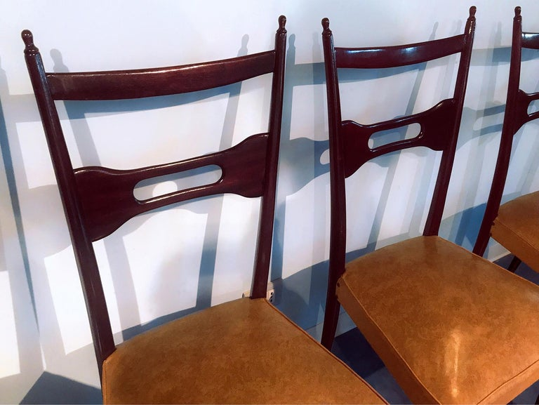 Mid-20th Century Italian Mid-Century Dining Chairs Paolo Buffa Style, Set of Six, 1950s For Sale