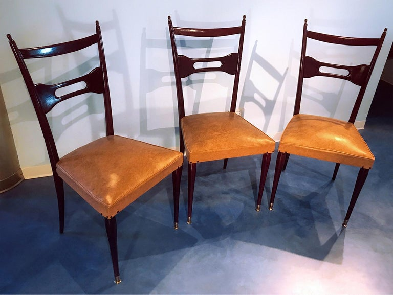 Faux Leather Italian Mid-Century Dining Chairs Paolo Buffa Style, Set of Six, 1950s For Sale