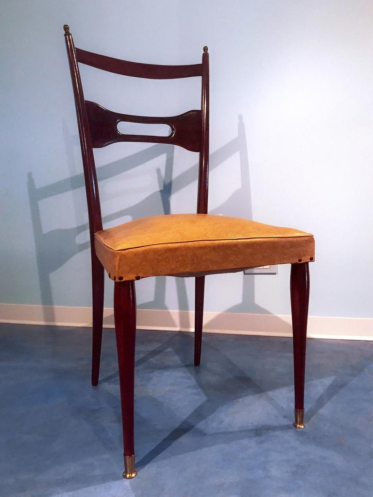 Italian Mid-Century Dining Chairs Paolo Buffa Style, Set of Six, 1950s For Sale 2