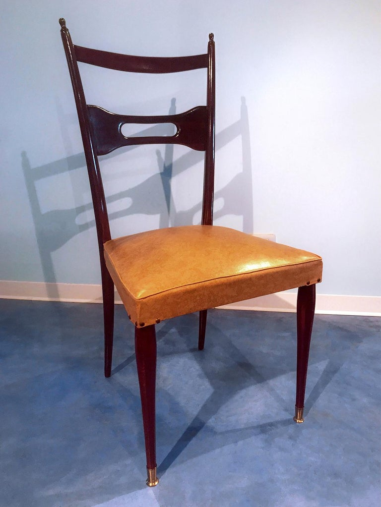 Italian Mid-Century Dining Chairs Paolo Buffa Style, Set of Six, 1950s For Sale 3