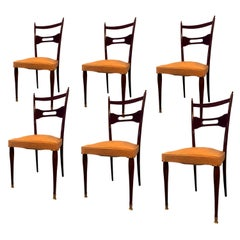 Italian Mid-Century Dining Chairs Paolo Buffa Style, Set of Six, 1950s