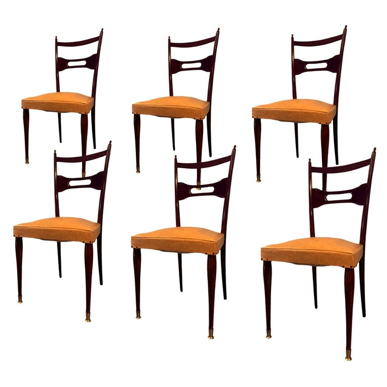 Italian Mid-Century Dining Chairs Paolo Buffa Style, Set of Six, 1950s For Sale