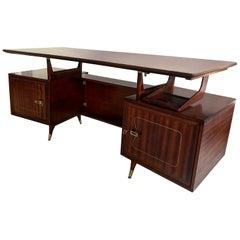 Italian Midcentury Mahogany Executive Desk by La Permanente Mobili Cantù, 1950s