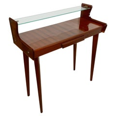 Italian Midcentury Mahogany Wood and Glass Console Table by Carlo de Carli 1950s
