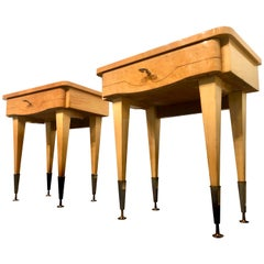 Italian Midcentury Maple Bedside Tables or Nightstand, 1950s
