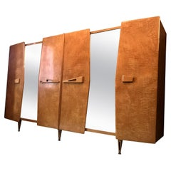 Italian Midcentury Maple Wardrobe with Sliding Mirrors by Vittorio Dassi, 1950s