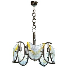 Italian Midcentury Mazzega/Murano Chandelier with Chrome Frame and Amber Glass