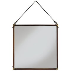 Italian Mid-Century Modern Design Dark Wood and Brass Wall Mirror, 1950s