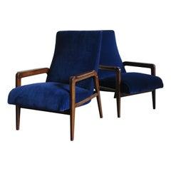 Italian Midcentury Modern Design Velvet Armchairs, 1950s