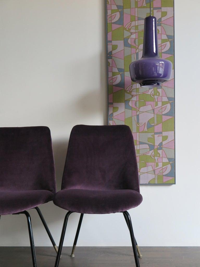 Italian Mid-Century Modern Design Velvet Chairs Armchairs, 1950s For Sale 5