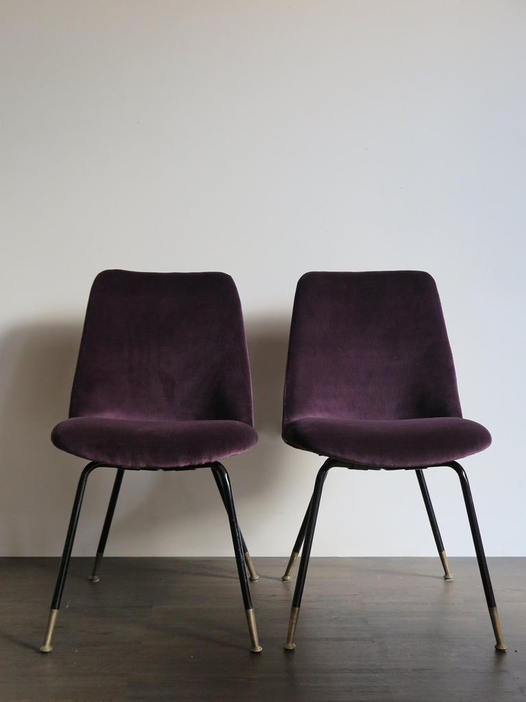 Set of two typical amazing Italian dining chairs or armchairs with lacquered metal frame and brass tips, velvet upholstery new, Mid-Century Modern design, 1950s.