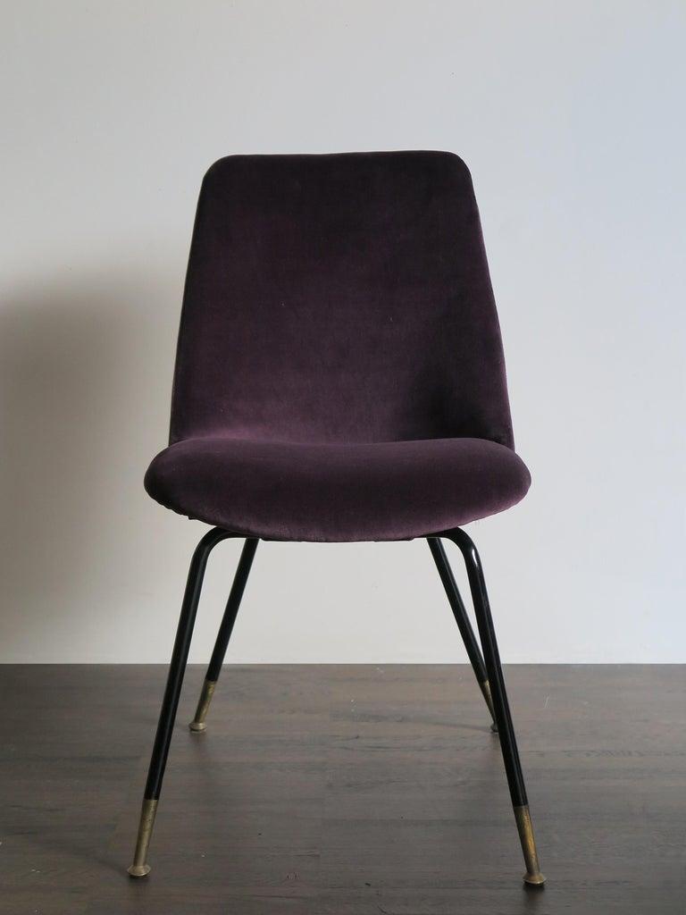 Mid-20th Century Italian Mid-Century Modern Design Velvet Chairs Armchairs, 1950s For Sale