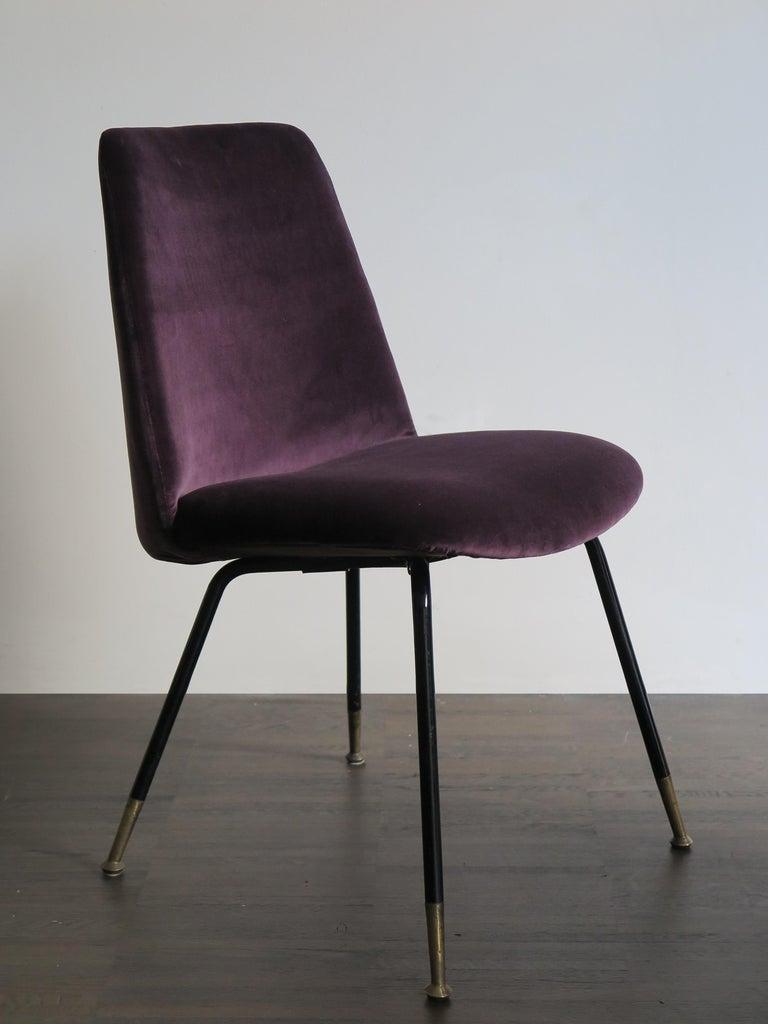 Metal Italian Mid-Century Modern Design Velvet Chairs Armchairs, 1950s For Sale