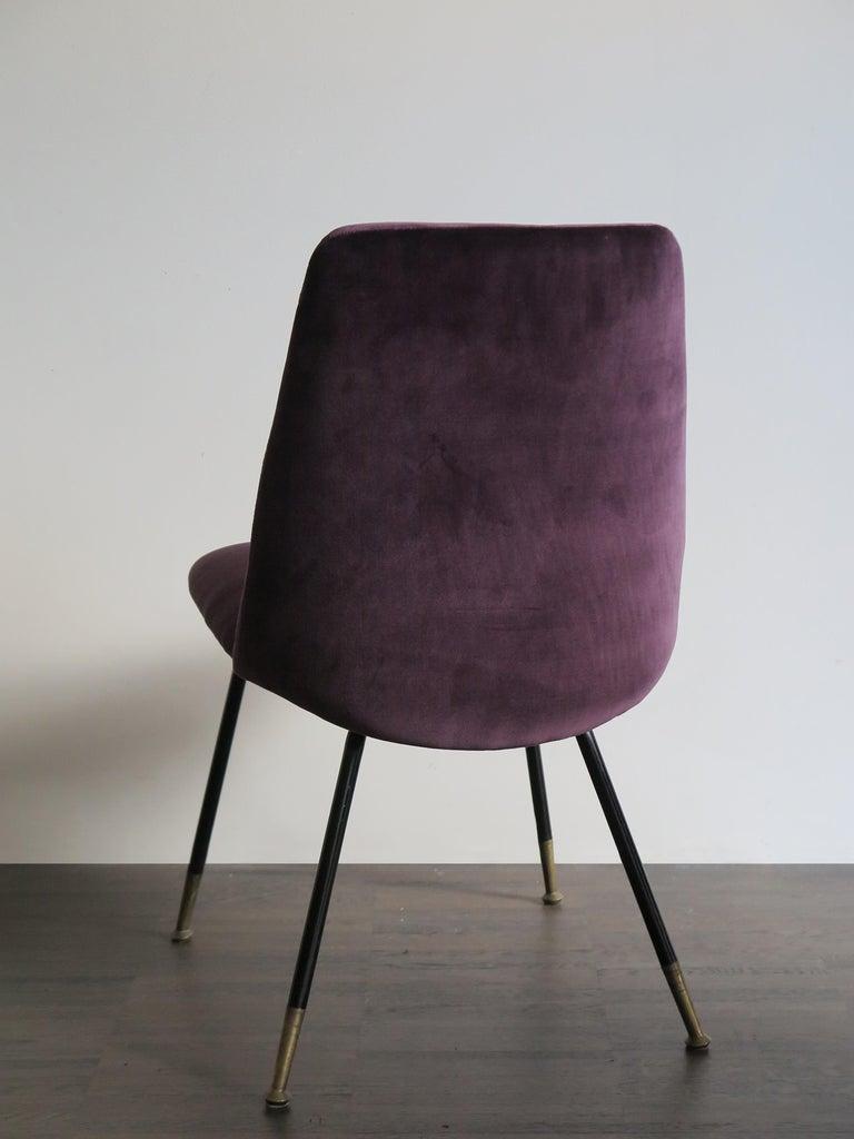 Italian Mid-Century Modern Design Velvet Chairs Armchairs, 1950s For Sale 1