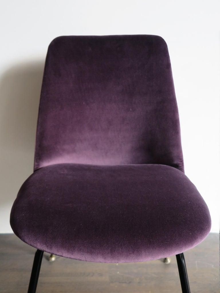 Italian Mid-Century Modern Design Velvet Chairs Armchairs, 1950s For Sale 2