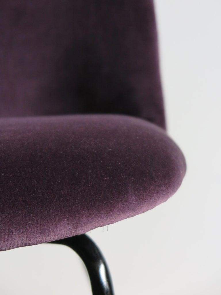Italian Mid-Century Modern Design Velvet Chairs Armchairs, 1950s For Sale 3