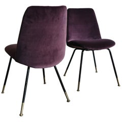 Italian Mid-Century Modern Design Velvet Chairs Armchairs, 1950s
