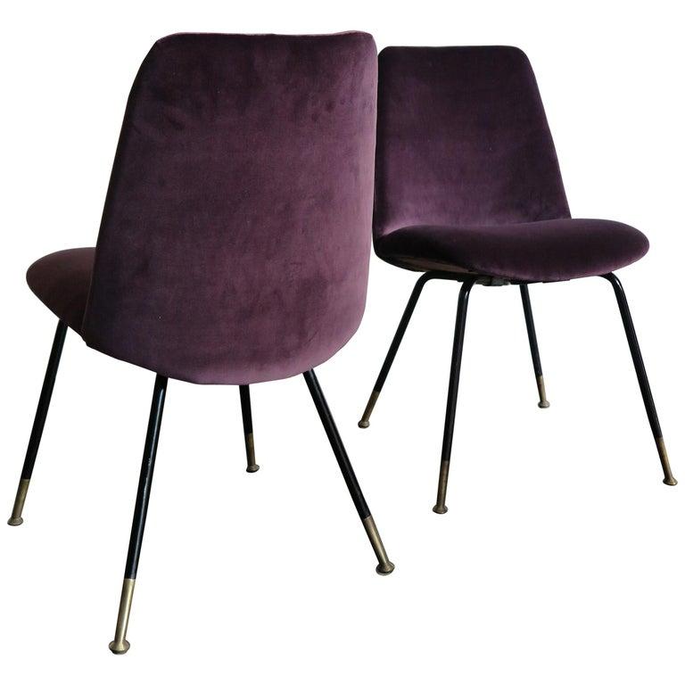 Italian Mid-Century Modern Design Velvet Chairs Armchairs, 1950s For Sale