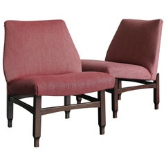 Italian Midcentury Modern Design Wood and Red Fabric Armchairs, 1950s