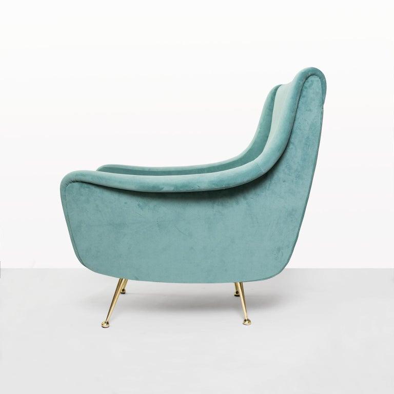 Mid-Century Modern Italian Midcentury Modern Lenzi Upholstered Lounge Chair with Brass Legs For Sale