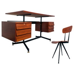 Italian Mid-Century Modern Teak Desk with Chair, 1950s