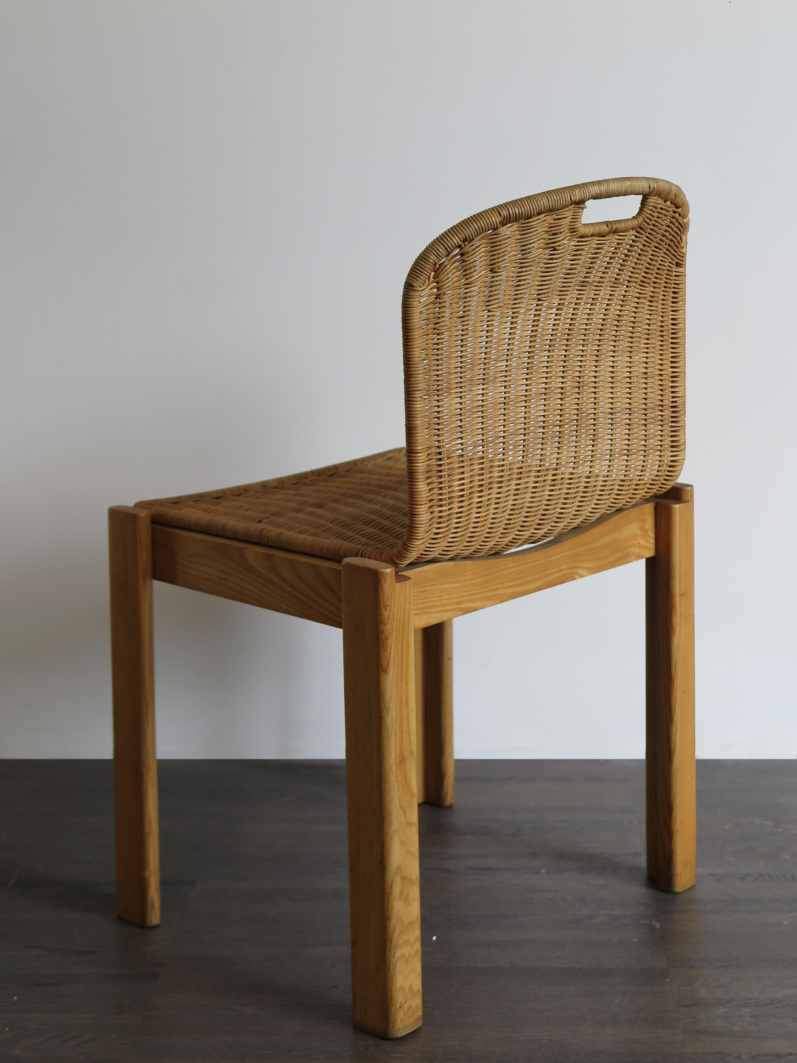 Italian Mid Century Modern Wicker Dining Chairs Set 1960s