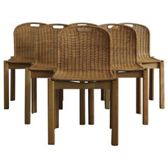 Italian Mid-Century Modern Wicker Dining Chairs Set, 1960s