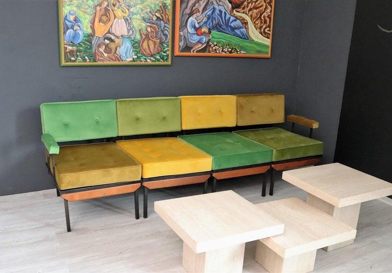 Italian Midcentury Modular Sofa Restored with Velvet, 1960s For Sale 13