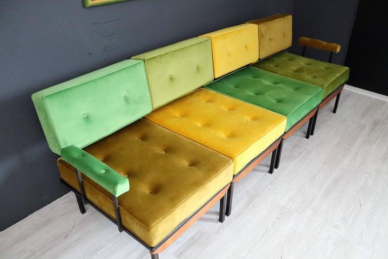 Mid-Century Modern Italian Midcentury Modular Sofa Restored with Velvet, 1960s For Sale