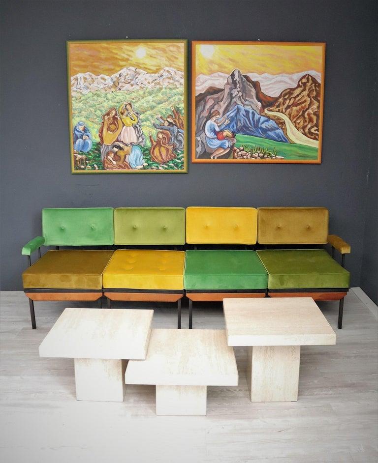 Mid-20th Century Italian Midcentury Modular Sofa Restored with Velvet, 1960s For Sale