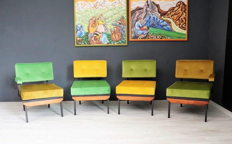 Metal Italian Midcentury Modular Sofa Restored with Velvet, 1960s For Sale