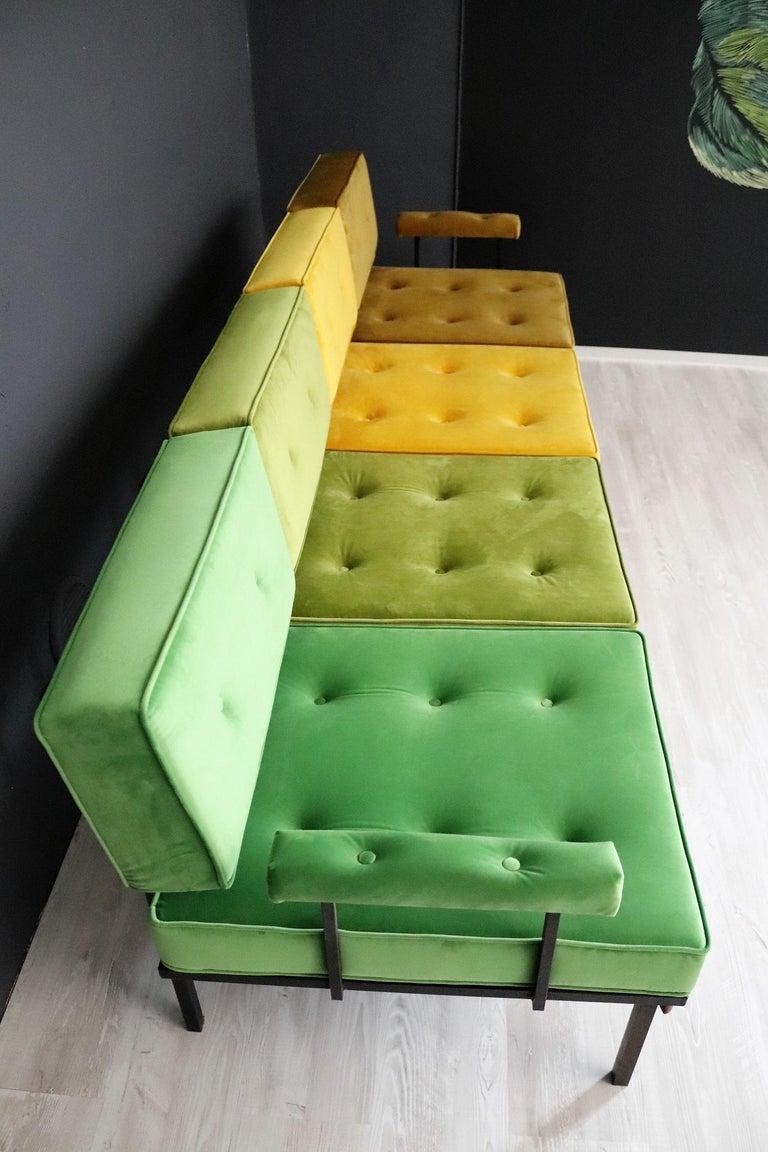 Italian Midcentury Modular Sofa Restored with Velvet, 1960s For Sale 2