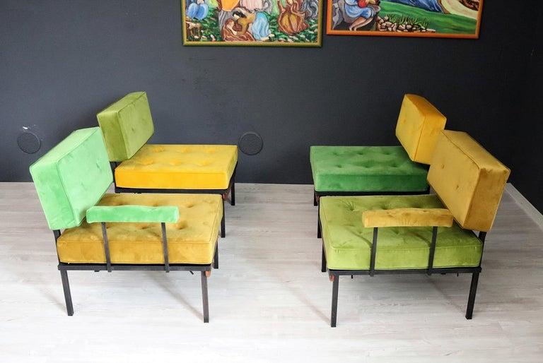 Italian Midcentury Modular Sofa Restored with Velvet, 1960s For Sale 3