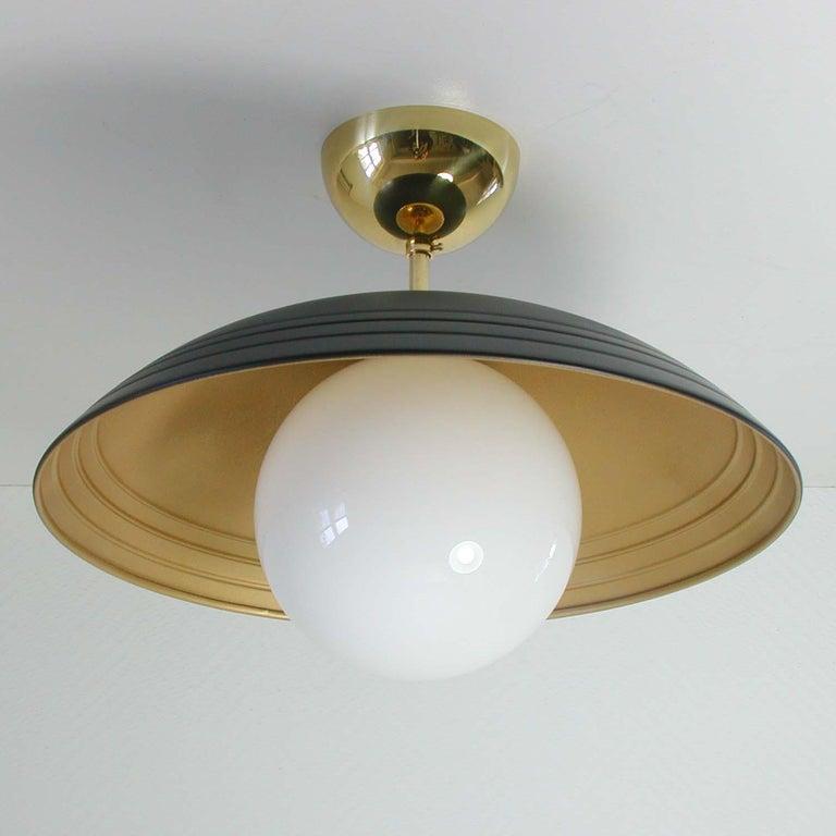 Lacquered Italian Midcentury Moon Orbit Flush Mount Ceiling Light, 1960s For Sale