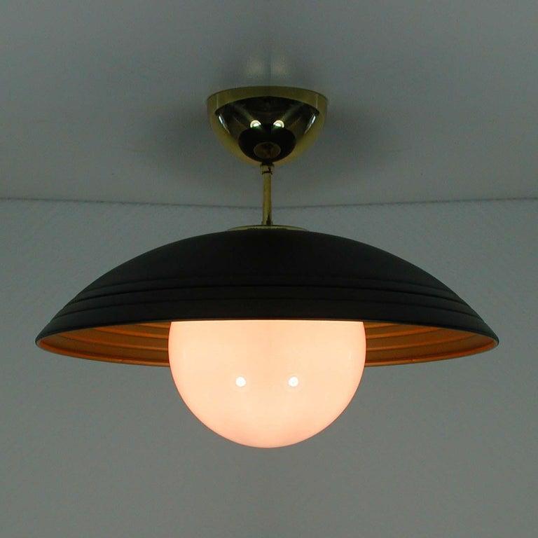 Brass Italian Midcentury Moon Orbit Flush Mount Ceiling Light, 1960s For Sale