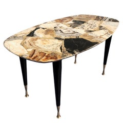 Italian Midcentury Mosaic Marble Coffee Table