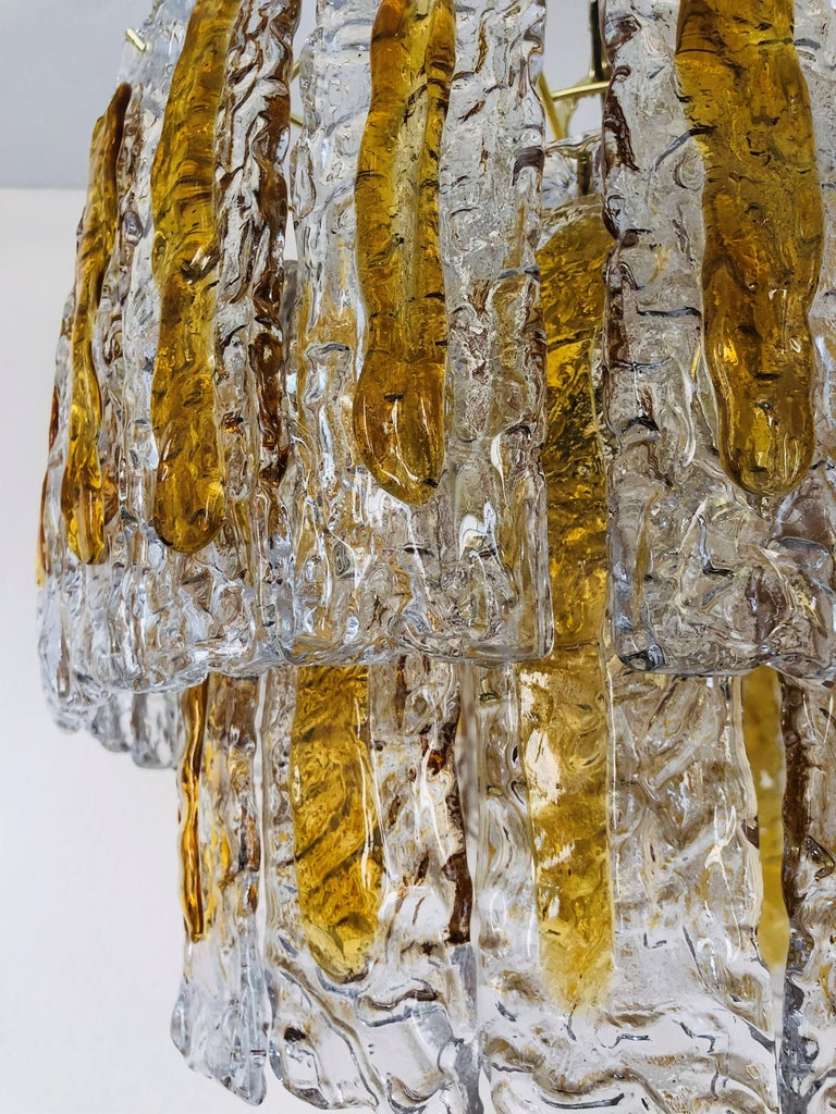 Mid-Century Modern Italian Midcentury Murano Amber Chandelier by Mazzega, 1970s For Sale