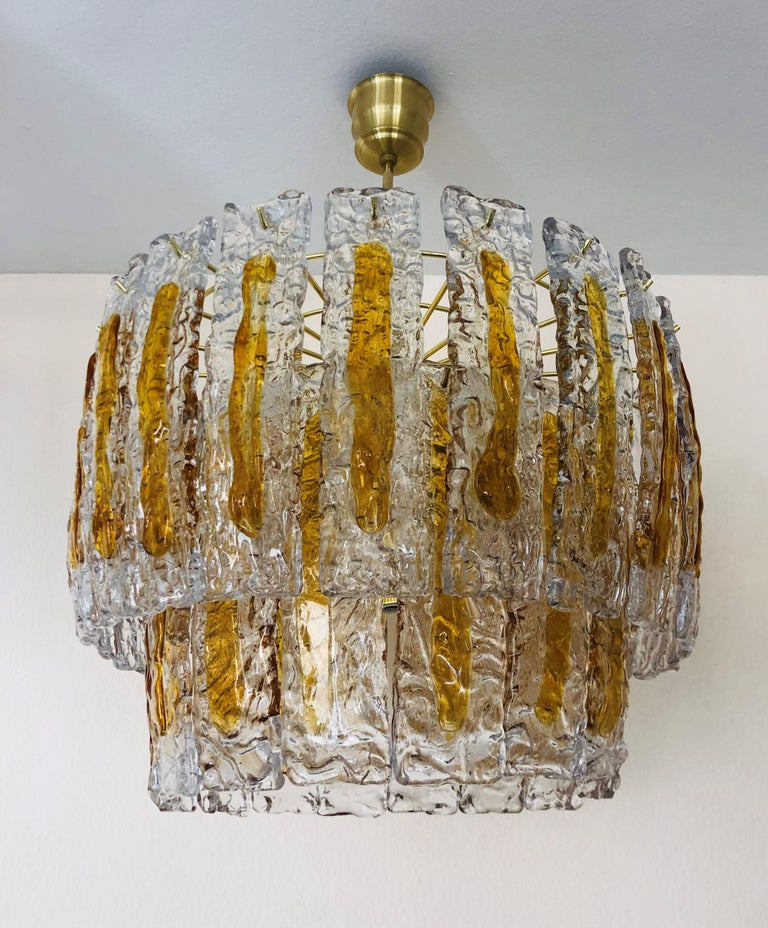 Late 20th Century Italian Midcentury Murano Amber Chandelier by Mazzega, 1970s For Sale