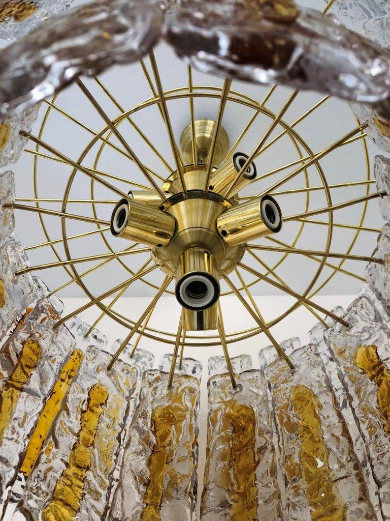 Brass Italian Midcentury Murano Amber Chandelier by Mazzega, 1970s For Sale