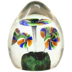 Italian Midcentury Murano Art Glass Paperweight with Floral Motif