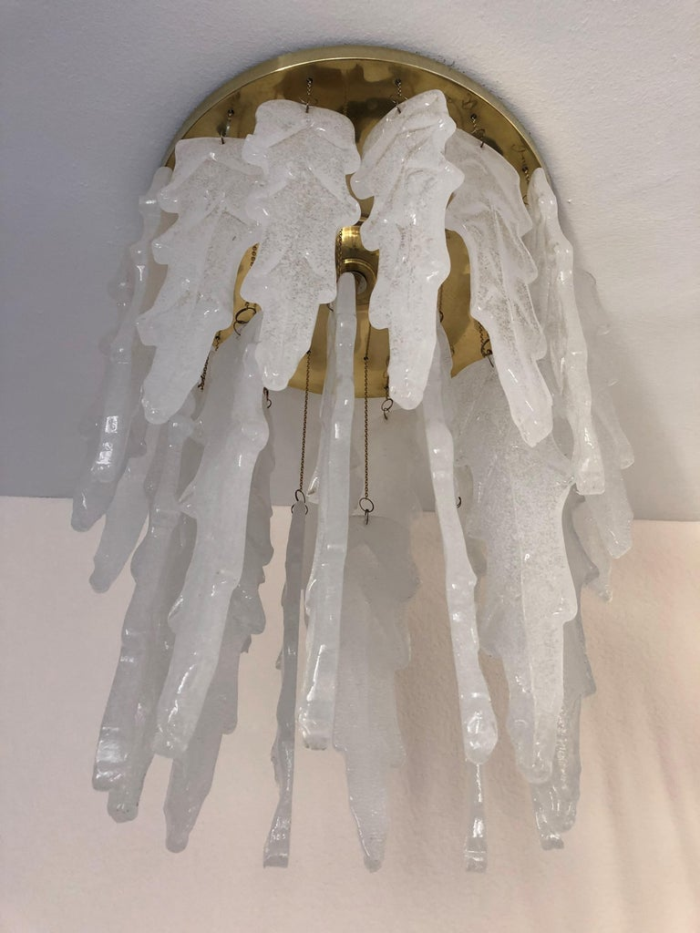 Brass Italian Midcentury Murano Glass Chandelier by Mazzega, 1970s For Sale