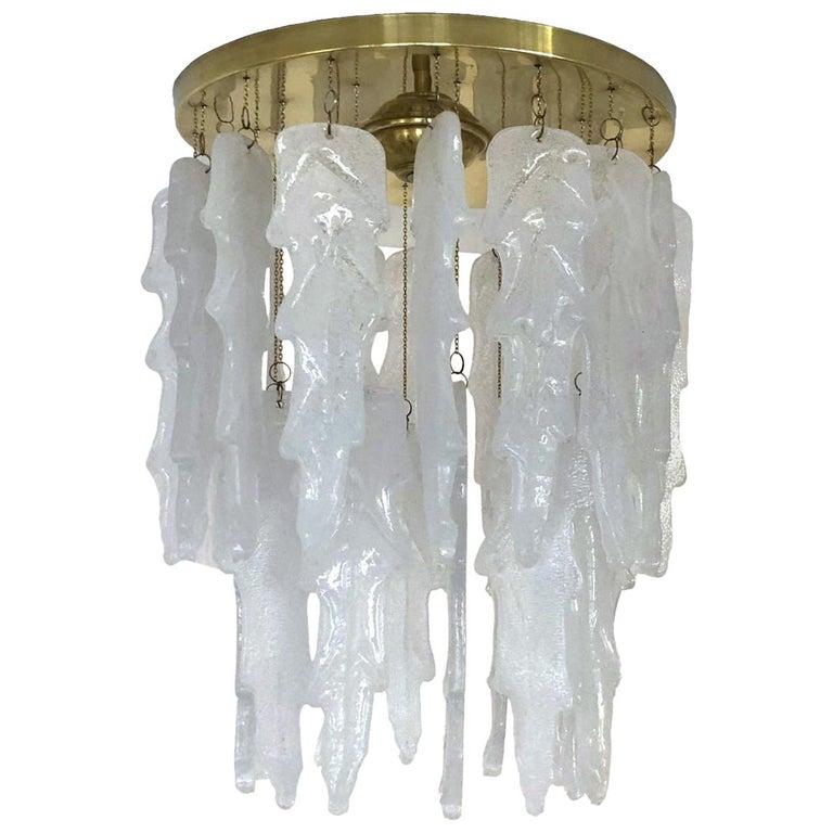 Italian Midcentury Murano Glass Chandelier by Mazzega, 1970s For Sale