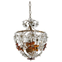 Italian Midcentury Murano Glass Chandelier or Lantern with Flowers, 1950s