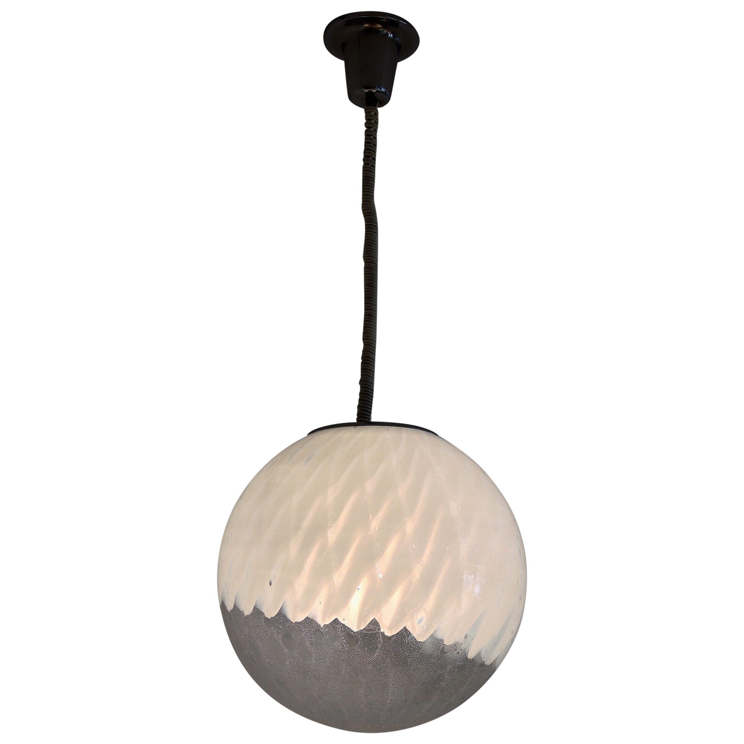 Italian Midcentury Murano Glass Globe Chandelier with Chrome Details, 1970s